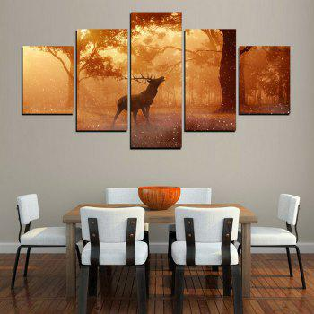 MailingArt FIV607  5 Panels Animal Wall Art Painting Home Decor Canvas Print - multicolor 12 X 16INCH 2PCS + 12 X 24INCH 2PCS + 12 X 32INCH