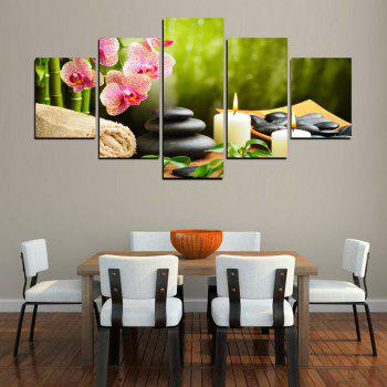 MailingArt FIV612  5 Panels SPA Picture  Wall Art Painting Home Decor Canvas Print - multicolor 12 X 16INCH 2PCS + 12 X 24INCH 2PCS + 12 X 32INCH