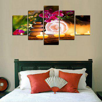 MailingArt FIV615  5 Panels Landscape Wall Art Painting Home Decor Canvas Print - multicolor 12 X 16INCH 2PCS + 12 X 24INCH 2PCS + 12 X 32INCH