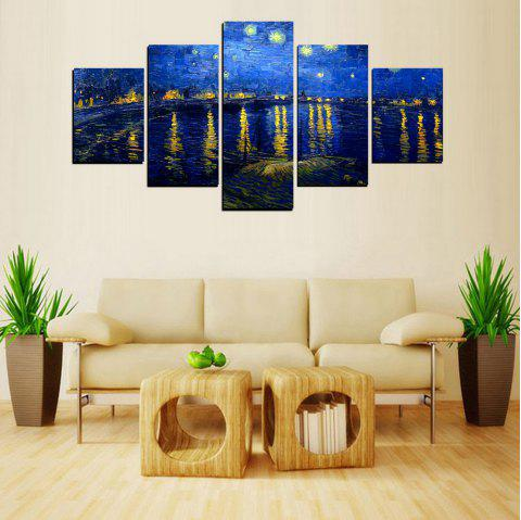 MailingArt FIV622  5 Panels Landscape Wall Art Painting Home Decor Canvas Print - multicolor 8 X 14INCH 2PCS + 8 X 18INCH 2PCS + 8 X 21INCH 1PC