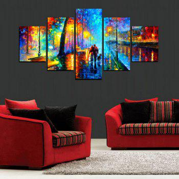MailingArt FIV623  5 Panels Landscape Wall Art Painting Home Decor Canvas Print - multicolor 8 X 14INCH 2PCS + 8 X 18INCH 2PCS + 8 X 21INCH 1PC