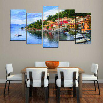 MailingArt FIV624  5 Panels Seascape Wall Art Painting Home Decor Canvas Print - multicolor 12 X 21INCH  4PCS + 12 X 32IN 1PC