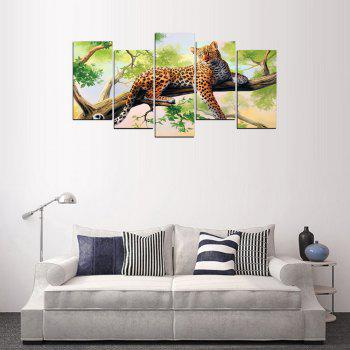 MailingArt FIV626  5 Panels Animal Wall Art Painting Home Decor Canvas Print - multicolor 12 X 21INCH  4PCS + 12 X 32IN 1PC