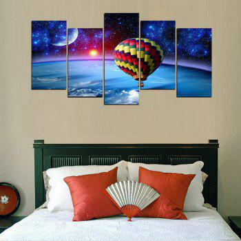 MailingArt FIV634  5 Panels HotAir Balloon Wall Art Painting Home Decor Canvas Print - multicolor 12 X 21INCH  4PCS + 12 X 32IN 1PC