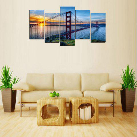 MailingArt FIV635  5 Panels Landscape Wall Art Painting Home Decor Canvas Print - multicolor 8 X 16INCH 4PCS + 8 X 21INCH 1PC