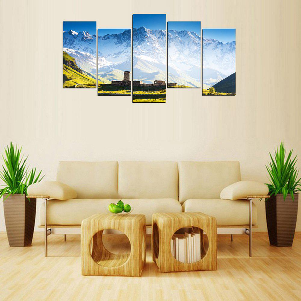 MailingArt FIV637  5 Panels Landscape Snow Mountain Wall Art Painting Home Decor Canvas Print - multicolor 12 X 24INCH  4PCS + 12 X 32IN 1PC