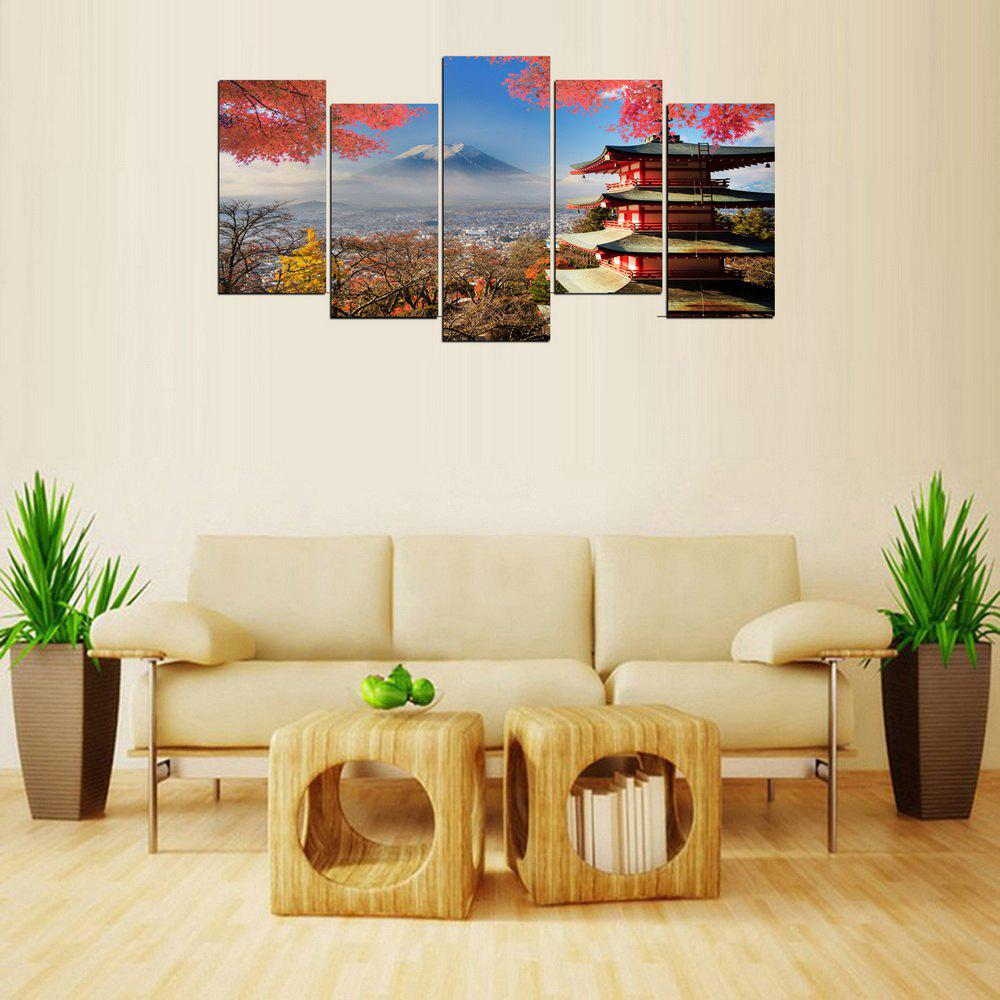 MailingArt FIV369  5 Panels Landscape Wall Art Painting Home Decor Canvas Print - multicolor 12 X 24INCH  4PCS + 12 X 32IN 1PC