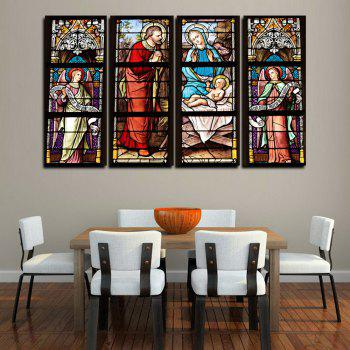 MailingArt FIV643  4 Panels Church Window Picture Wall Art Painting Home Decor Canvas Print - multicolor 12 X 36INCH 4PCS
