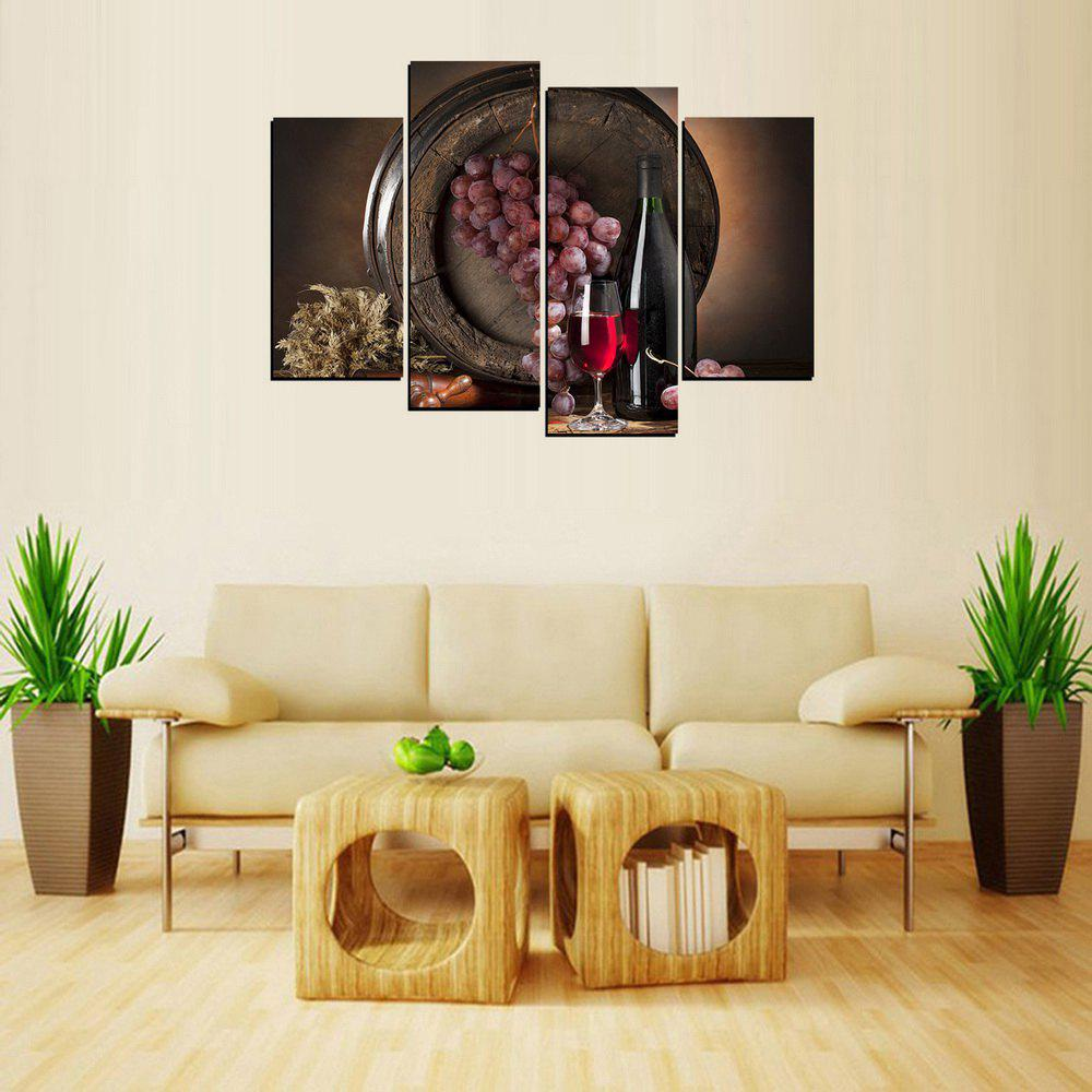 MailingArt FIV646  4 Panels Wine Case Wall Art Painting Home Decor Canvas Print - multicolor 12X24INCH 2PCS  12X32INCH 2PCS