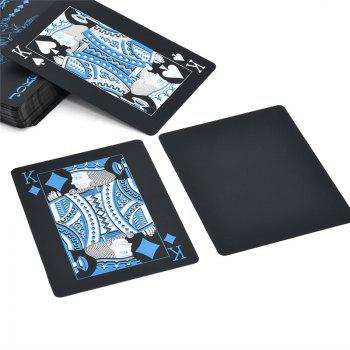 Creative Black Plastic PVC Poker Waterproof Magic Playing Cards Table Game Sets 54pcs - BLACK