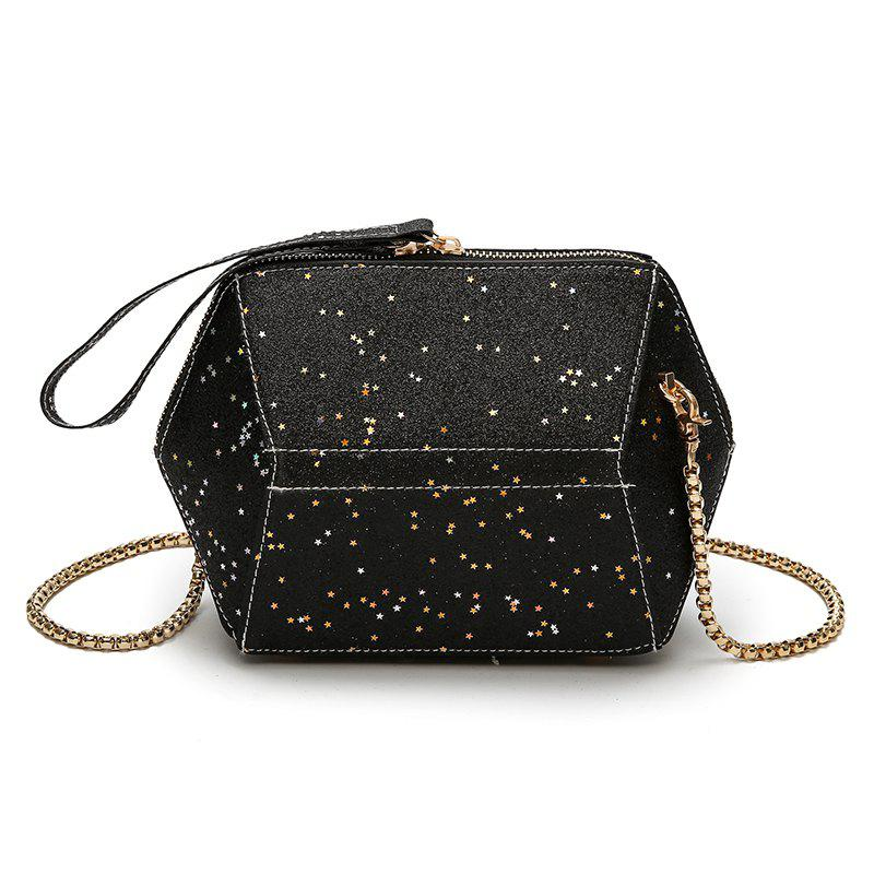 Fashion Bag Female New Tide Sequins Inclined Handbag Character Single Shoulder - BLACK 22 X 8 X 15