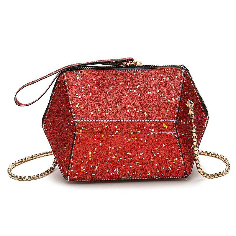Fashion Bag Female New Tide Sequins Inclined Handbag Character Single Shoulder - LAVA RED 22 X 8 X 15