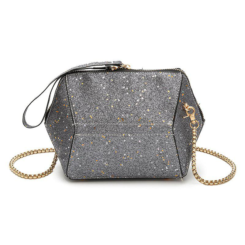 Fashion Bag Female New Tide Sequins Inclined Handbag Character Single Shoulder - GRAY 22 X 8 X 15