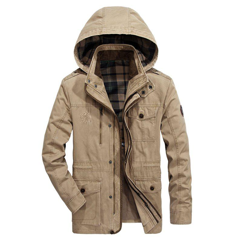 Zippered Cuffs Hooded Jacket - ANTIQUE WHITE L