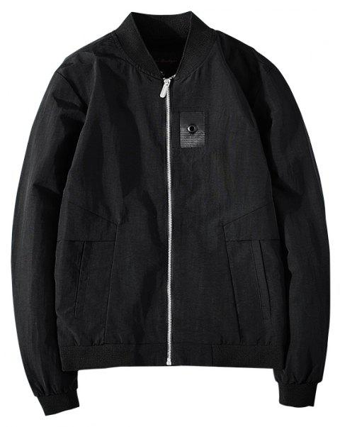 Badge Patched Baseball Jacket - BLACK XL