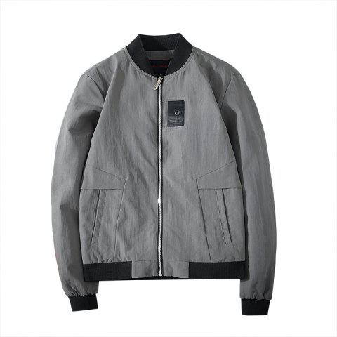 Badge Patched Baseball Jacket - LIGHT SLATE GRAY 2XL