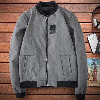Badge Patched Baseball Jacket - LIGHT SLATE GRAY L