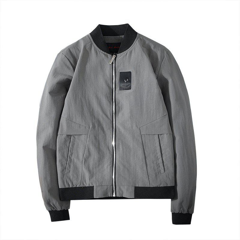 Badge Patched Baseball Jacket - LIGHT SLATE GRAY M