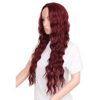 Long Style Wine Red Color Best Fashion Fluffy Wavy Synthetic Hair Wig for European Women - RED WINE