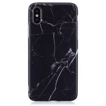 Luxury Marble Stone Pattern Slim Fit Soft Tpu Mobile Phone Case Cover Coque for iPhone X  -  Black - BLACK
