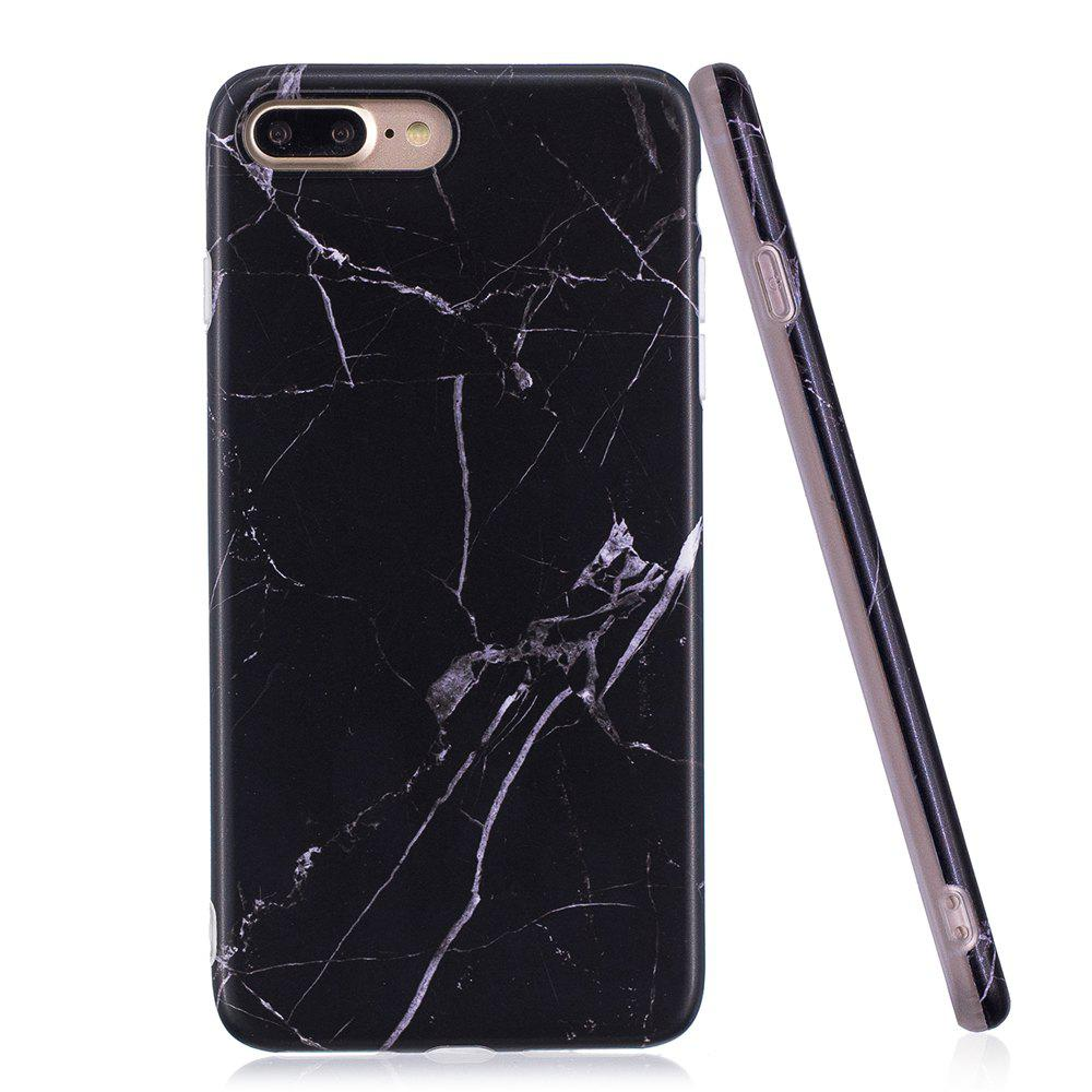 Luxury Marble Stone Pattern Slim Fit Soft Tpu Mobile Phone Case Cover Coque for iPhone 8 Plus - Black - BLACK