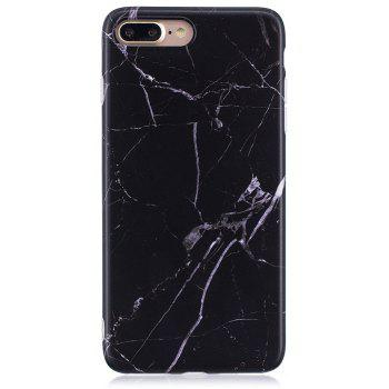 Luxury Marble Stone Pattern Slim Fit Soft Tpu Mobile Phone Case Cover Coque for iPhone 7 Plus - Black - BLACK