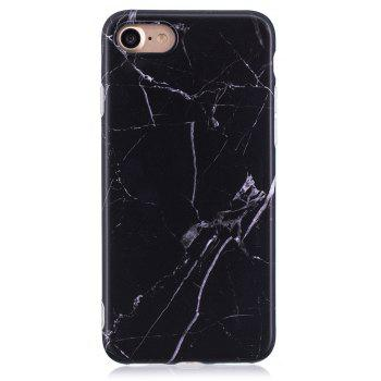 Luxury Marble Stone Pattern Slim Fit Soft Tpu Mobile Phone Case Cover Coque for iPhone 7 - Black - BLACK