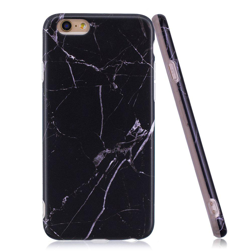 Luxury Marble Stone Pattern Slim Fit Soft Tpu Mobile Phone Case Cover Coque for iPhone 6/6S - Black - BLACK