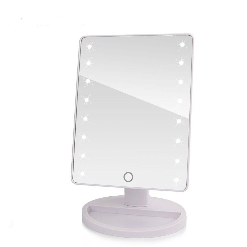 LED Touch Screen Makeup Mirror Professional Vanity with 16 Lights Health Beauty Adjustable Countertop 360 Rotating - WHITE