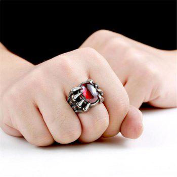 Titanium Steel Fashion Personality Devil Paw Ring Black Ruby Men Woman - RED US SIZE 8