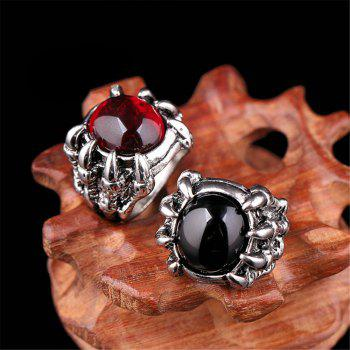 Titanium Steel Fashion Personality Devil Paw Ring Black Ruby Men Woman - RED US SIZE 9