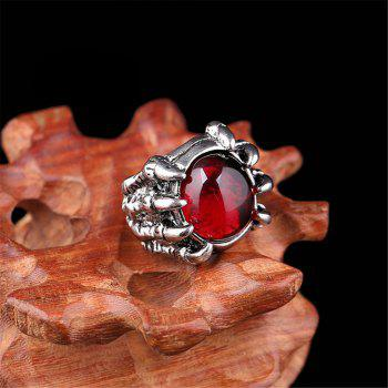 Titanium Steel Fashion Personality Devil Paw Ring Black Ruby Men Woman - RED US SIZE 11