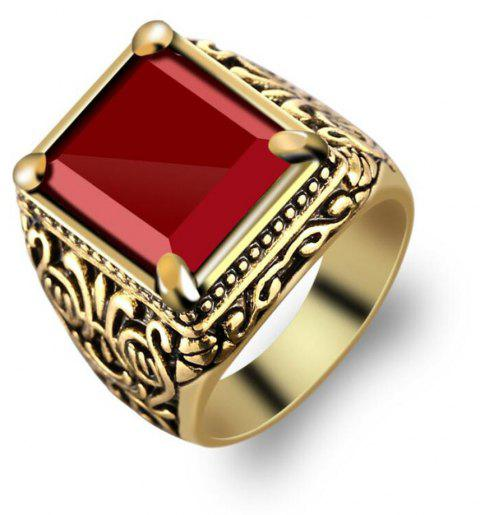 Fashion Gold Inlaid Crystal Resin Ring Woman Men Jewelry Trinkets - GOLD US SIZE 8