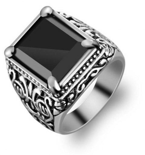 Fashion Gold Inlaid Crystal Resin Ring Woman Men Jewelry Trinkets - SILVER US SIZE 8