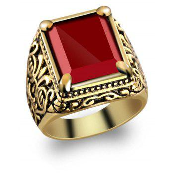 Fashion Gold Inlaid Crystal Resin Ring Woman Men Jewelry Trinkets - GOLD US SIZE 7