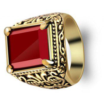 Fashion Gold Inlaid Crystal Resin Ring Woman Men Jewelry Trinkets - GOLD US SIZE 10