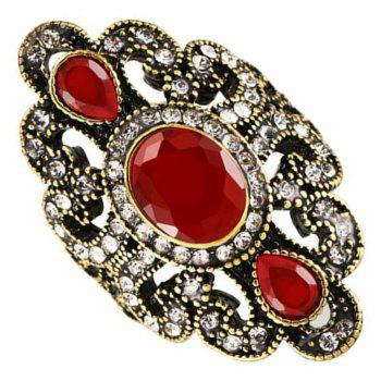 Fashion Golden Carved Inlaid Acrylic Resin Hollow Ring Woman Jewelry Trinkets - GOLD US SIZE 8