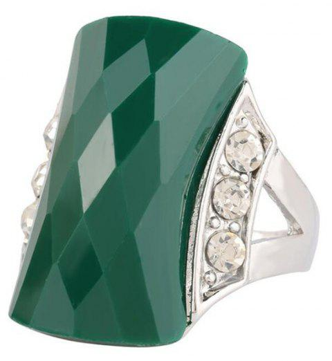 Fashion Diamond Black Stone Green Ring Woman Jewelry Trinket - GREEN US SIZE 7
