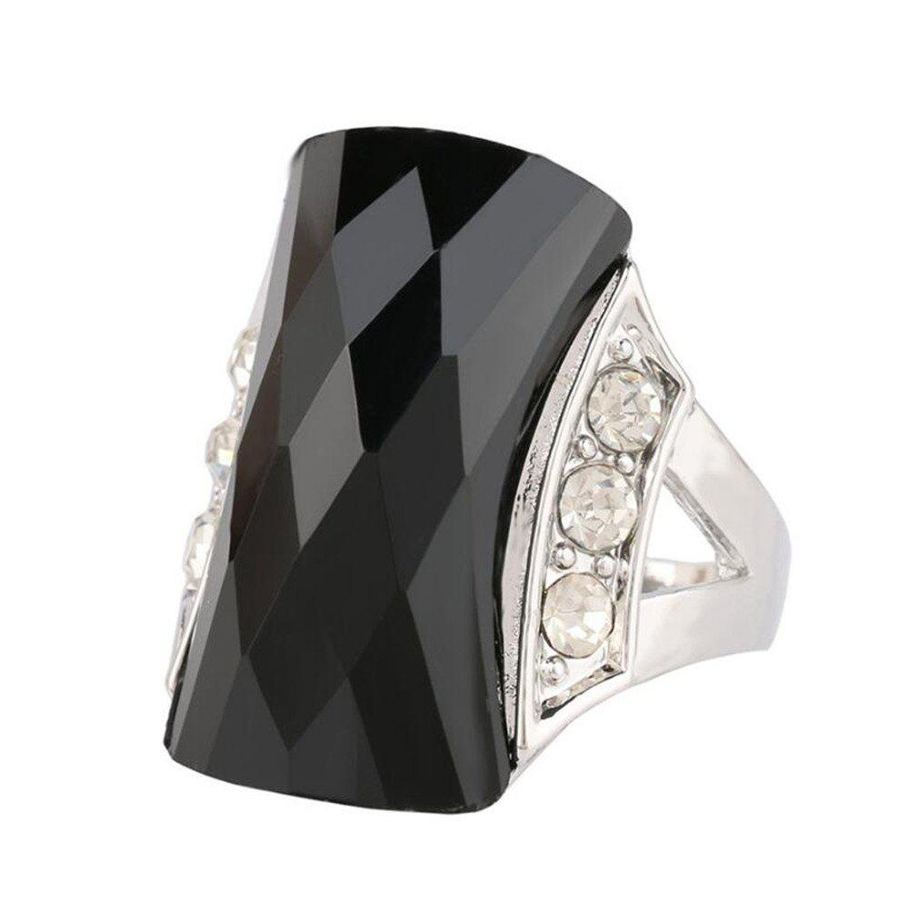 Fashion Diamond Black Stone Green Ring Woman Jewelry Trinket - BLACK US SIZE 9