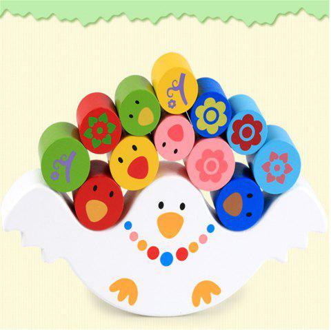 Wooden Multi Function Bird Balance Early Education Puzzle Toy - multicolor A