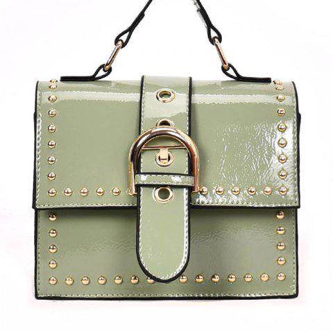 Shoulder Bag with Rivet Shoulder - BLUE GREEN
