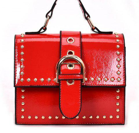 Shoulder Bag with Rivet Shoulder - RED