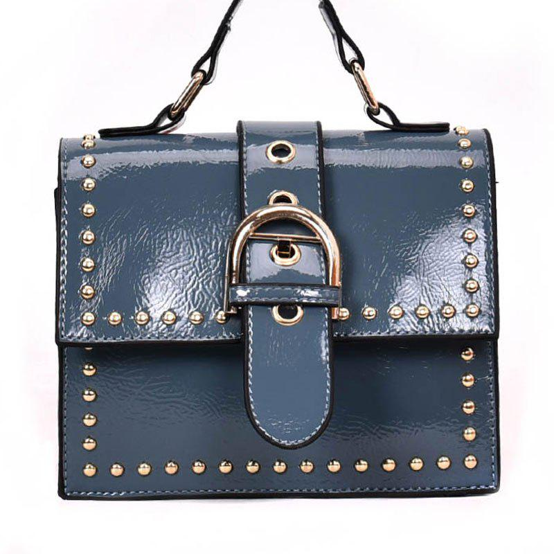 Shoulder Bag with Rivet Shoulder - STEEL BLUE
