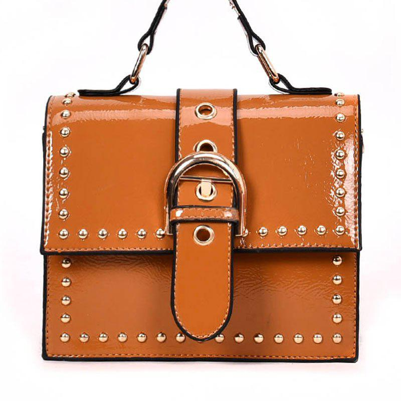 Shoulder Bag with Rivet Shoulder - TIGER ORANGE