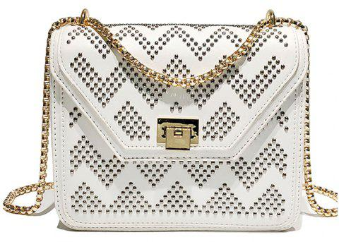 SSYD 1834 Rivet Single Shoulder Slanted Chain Bag - WHITE