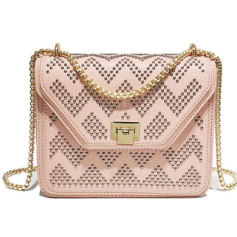 SSYD 1834 Rivet Single Shoulder Slanted Chain Bag - ROSE