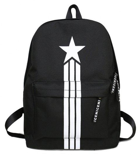 Large Capacity Simple Canvas Backpack - BLACK