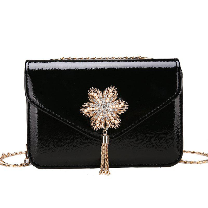 Snowflake Lock Small Tassel Shoulder Slanted Chain Bag - BLACK
