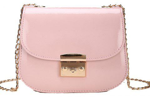 Chain Lock with Bright Face Slanted Shoulder Bag - LIGHT PINK