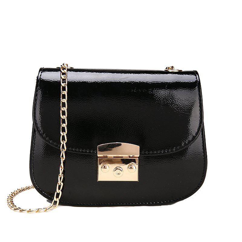 Chain Lock with Bright Face Slanted Shoulder Bag - BLACK